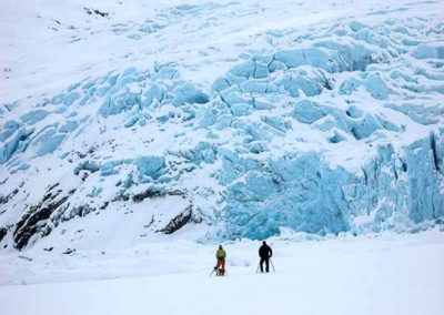 Skiing To The Face Of A Glacier